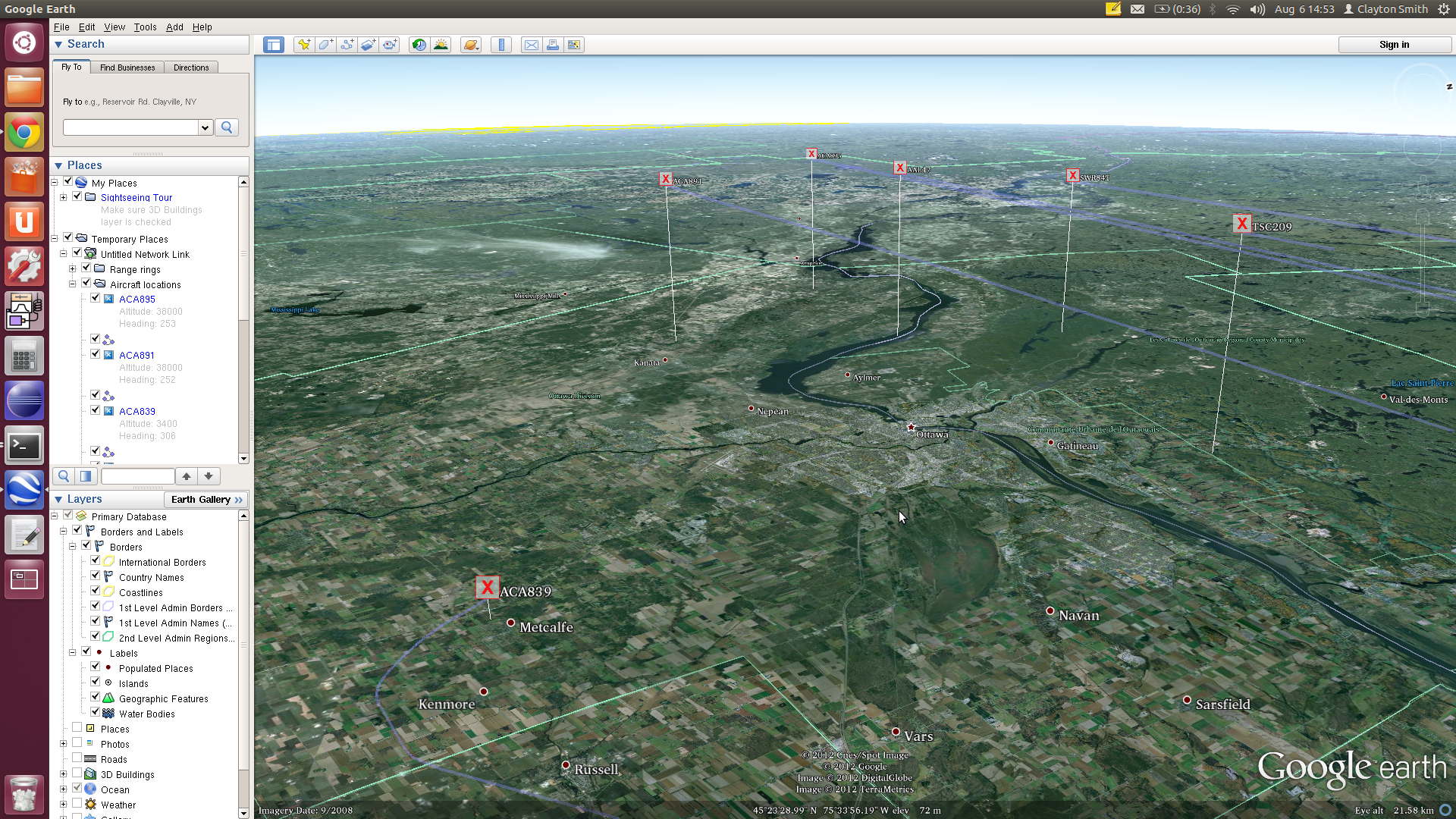 Screenshot of gr-air-modes in Google Earth
